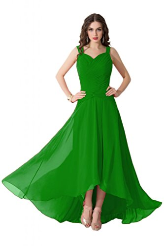 sunvary alta baja gasa fiesta noche vestidos de para mujer verde manzana