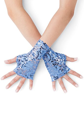 Balera Costume Fingerless Gloves Sequin Lace Periwinkle (Jazz Costumes For Recitals)