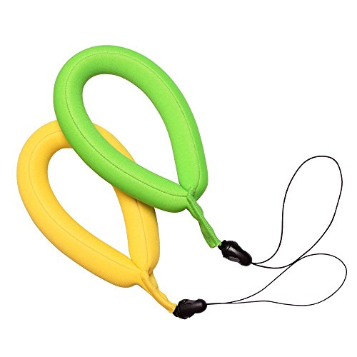Waterproof Camera Float Strap, Pack of 2, Floating Wrist Strap for Underwater Cameras, Waterproof Cameras, Marine Binoculars, Camcorders, Nikon, Canon, Sony and Phones ( Mustard&Green)