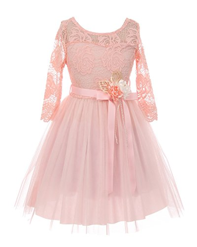 iGirldress 3/4 Sleeve Floral Lace Roses Corsage Christmas Flower Girl Dress Pink Size 4