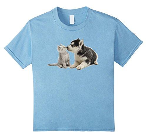 Kids Siberian Husky Kissing Kitten T-Shirt 6 Baby Blue
