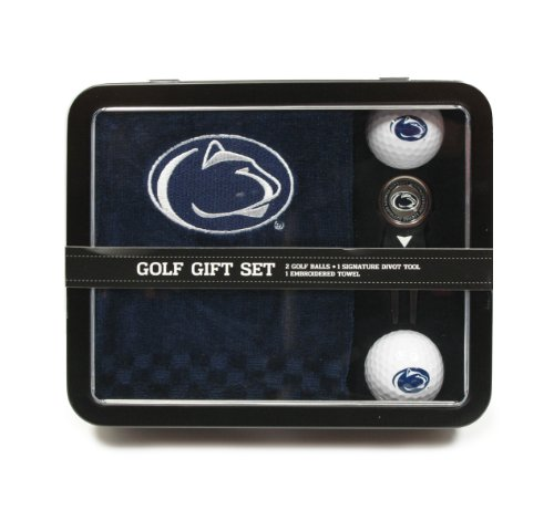 (Team Golf NCAA Penn State Nittany Lions Gift Set Embroidered Golf Towel, 2 Golf Balls, & Divot Tool with Removable Double-Sided Magnetic Ball Marker)