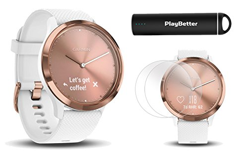 PlayBetter Garmin vivomove HR Sport (Rose Gold - Small/Medium) Hybrid Smartwatch Screen Protectors (x4) | Activity, Sleep & Stress Tracking, On-Wrist Heart Rate