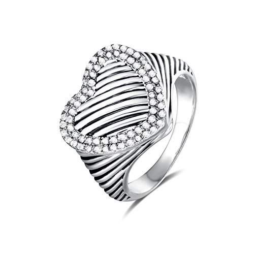 UNY Ring Twisted Cable Wire Designer Inspired Fashion Brand David Vintage Heart Pave CZ Antique Women Jewelry Gift (White, 9)