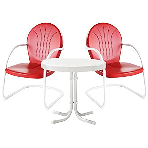 Crosley Furniture Griffith 3-Piece Metal Outdoor Conversation Set with  Table and 2 Chairs - Red - Retro Patio Furniture: Amazon.com