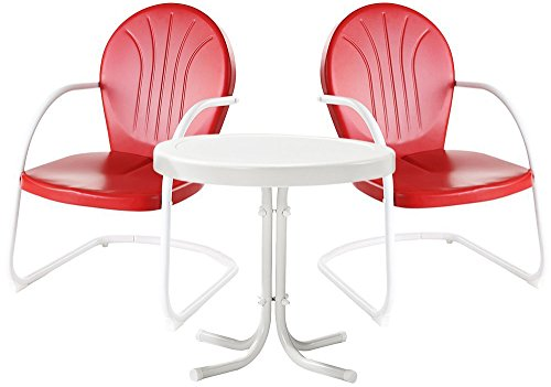 Cheap Crosley Furniture Griffith 3-Piece Metal Outdoor Conversation Set with Table and 2 Chairs – Red