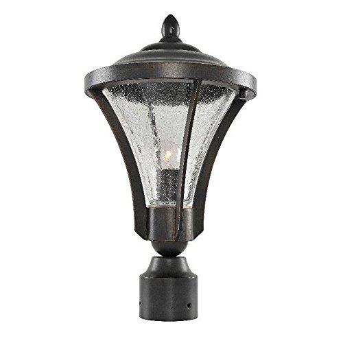 Kalco 400700AC Lincoln - One Light Outdoor Small Post/Pier Mount, Antique Copper Finish with Clear Crakle ()