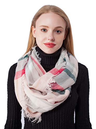 Plaid Print Infinity Scarf for Women Knitting Girls Cashmere Feel Circle Scarves (Knitting Pink) -