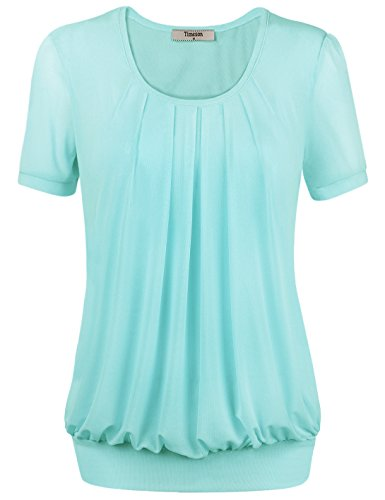 Timeson Short Sleeve Tunic, Womens Sexy Pullover Short Sleeve Boat Neck Drape Front Embellished Tee Large Light Blue