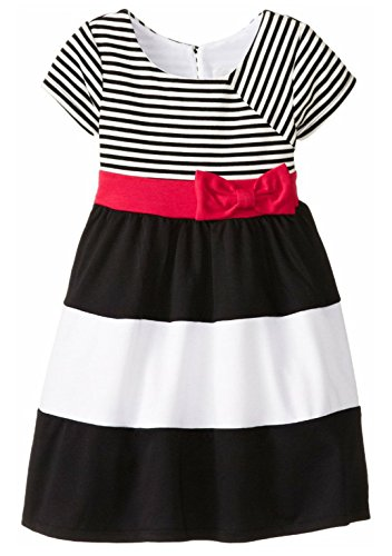 Rare Editions Toddler Girls' Color Block Dress (Black, 4T/4)