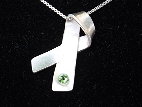 (Lime Green Awareness Ribbon Necklace)