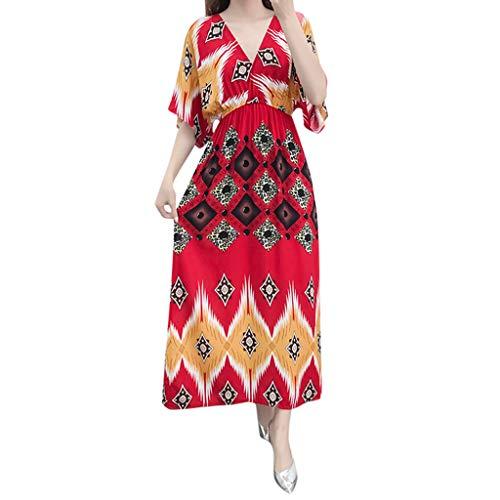 (Women Deep V Neck Maxi Dress African Floral Print Vintage Wrap Dress Belt Bohemian Plus Size Half Sleeve Flowy Long Dress (Red, S))