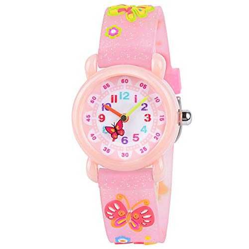 Venhoo Kids Watches Cute 3D Cartoon Waterproof Silicone Children Toddler Wrist Watch Time Teacher Birthday Gift 3-10 Year Boys Girls Little Child-Pink Bling Butterfly