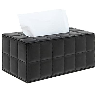 Black Modern Quilted Synthetic Leather Tissue Box Cover / Decorative Tabletop Napkin Dispenser - MyGift®