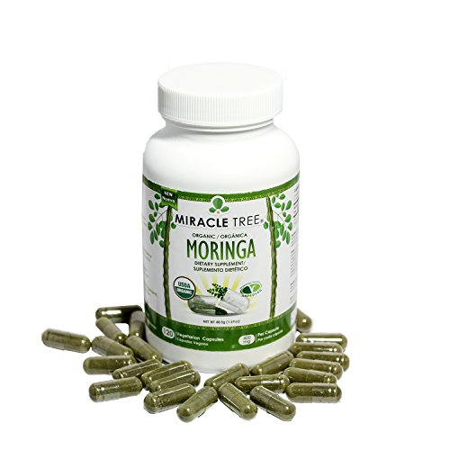 Miracle Tree - USDA Organic Premium Moringa Supplements (120 capsules 400 mg)