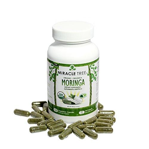 Miracle Tree - USDA Organic Premium Moringa Supplements (120 capsules 400 mg)
