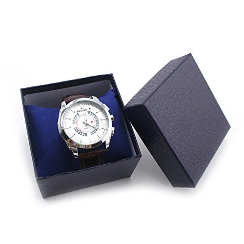 Auwer Upscale Single Watch Box Gift Display Elegant Earring Ring Bracelet Watch Bangle Jewelry Box Case Storage (Blue)