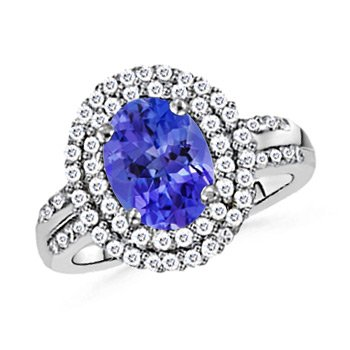 Angara Oval Tanzanite Solitaire Ring with Diamond Border J7DGR7S9