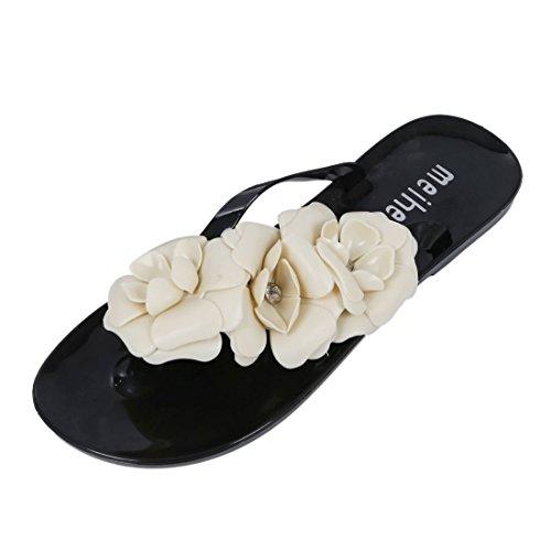 SODIAL(R) Zapatos del estilo del verano de Mujeres Nuevas sandalias para Mujeres Chancletas de jalea de flores Negro US 6.5 = EUR37 = longitud 23.5CM Negro