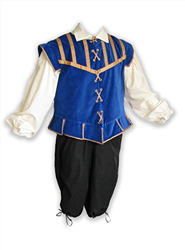Men's Renaissance 3 Piece Doublet Costume With Poet Shirt and Breeches