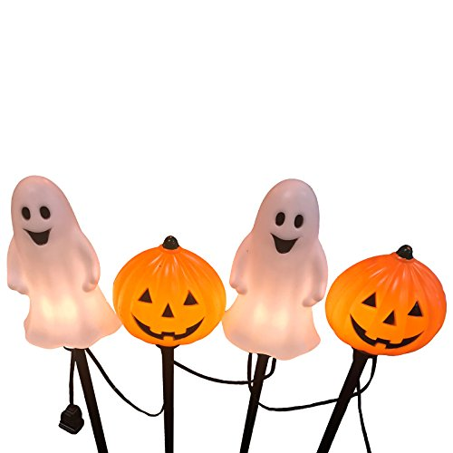 Ghost Light Strand - Darice INC 4 ct Blow Mold Ghost and Pumpkin Pathway Marker Light Strand 30061076