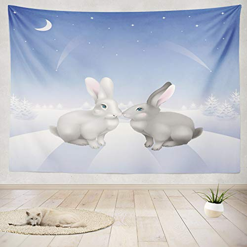 ONELZ Decor Collection, Two Grey Hill Winter Forest Night Rabbit Bunny Easter Snow Animal Blue Card Bedroom Living Room Dorm Wall Hanging Tapestry 50