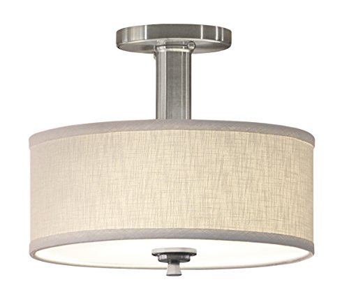 Good Earth Lighting Valencia Semi-Flush Ceiling Light - 23W Fluorescent Blub Included - 3000K Bright White - 10,000 Hours Lamp Life - ETL - Energy Star - Brushed Nickel - Ceiling Fixture Earth