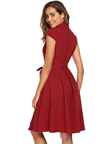 Women's Wrap Swing A Neck Cocktail red Midi ANGVNS Line Cap Dresses Sleeve V A 6dUq55x1w