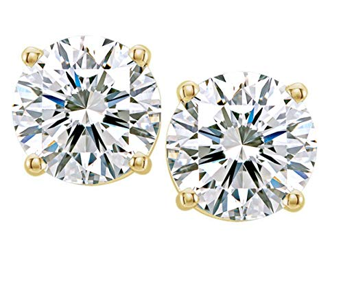 (Certified G-H Color, VVS2/VS1 Clarity) Jewelry By Bruno 2 Carat Lab Grown Diamond Stud Earrings Set in 14k Yellow Gold