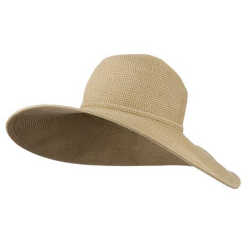 UPF 50+ Paper Toyo Tweed 5 Inch Brim Hat - Tan - Wide Toyo Hat Braid