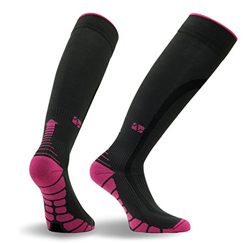Vitalsox Patented Graduated Compression Socks, Carbon/Pink, Medium Faster Mid Trail Shoes