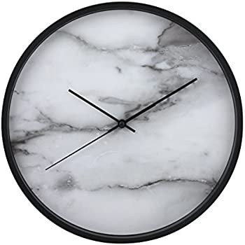 greenwich clock co modern 12u201d wall clock with white marble face u0026 black frame