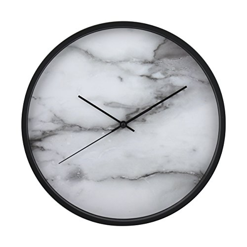 "Azzure Home Luxurious 12"" Wall Clock, Perfect for hanging in the Entry Way, or Living Quarters, White Marble / Black Frame Blank Clock"
