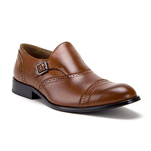 Loafers Tip On Cap Perforated Wing Shoes Monk Cognac Men's Toe Dress Slip Single Strap qwzZp10
