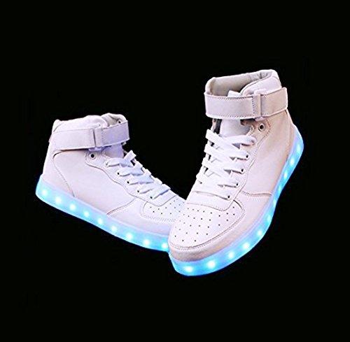 Shihualine (tm) Scarpe Da Donna Sneakers Alte Scarpe Da Uomo Con Led Usb (8.5us-women / 7us-men)