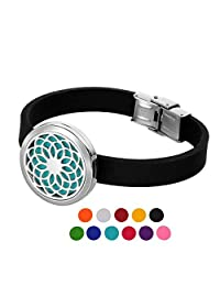 HOUSWEETY Aromatherapy Essential Oil Diffuser Bracelet Hypo-Allergenic Stainless Steel Locket Pendant Silicone Bracelet