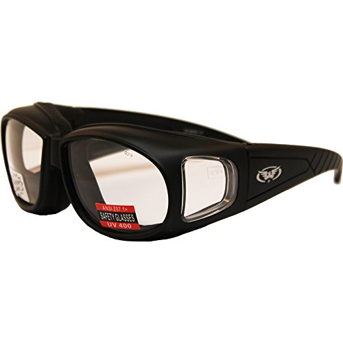 Global Vision Outfitter Motorcycle Glasses, Anti Fog, Clear Lens, Matte Black Frame