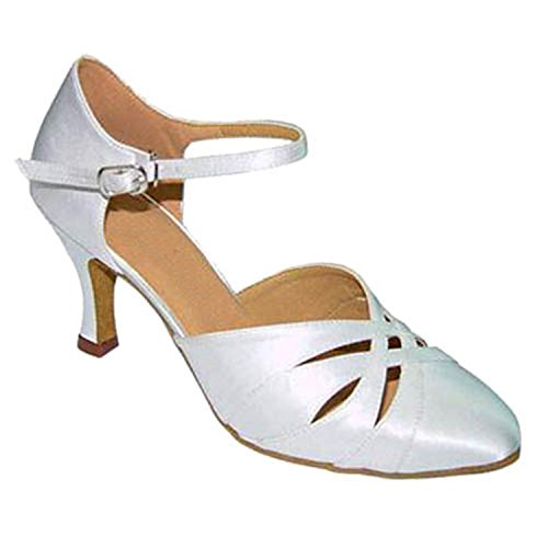 Latin Ballroom Round Shoes Salsa Women's Toe Heel Shoesland Dance Dance White Chunky Tango W965 7gzwq8Efax