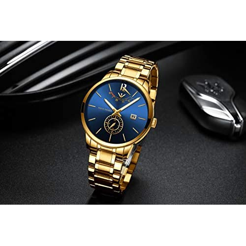 41yA0xkrStL. SS500  - NIBOSI Mens Analogue Quartz Watch with Stainess Steel Strap Top Brand Luxury Business Quartz Watch Men Full Steel Fashion Waterproof (Gold Blue)
