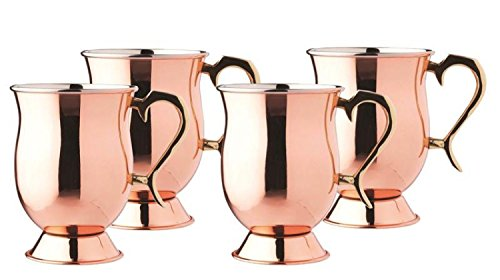 16 oz Solid Copper Smooth Tankard w/Brass Handle - Set of 4