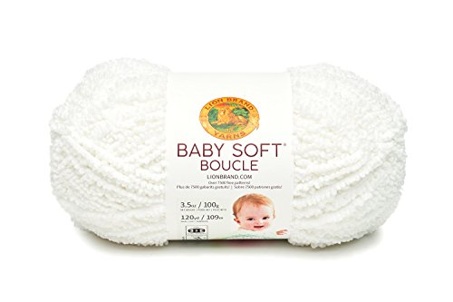 Lion Brand Yarn 918-100 Baby Soft Boucle Yarn, White