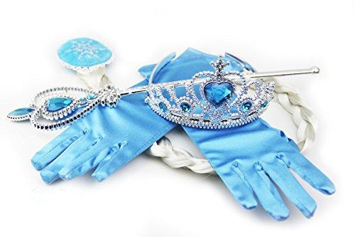 HXL Inspired Snow Queen Princess Elsa Tiara Braid Wand Blue
