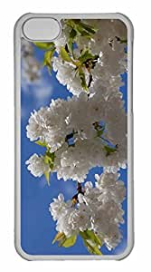 iPhone 5C Case, Personalized Custom White Cherry Blossom Tree for iPhone 5C PC Clear Case
