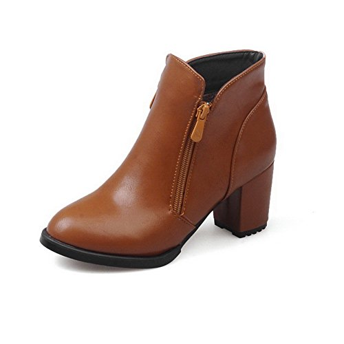 Allhqfashion Women's Kitten Heels Solid Round Closed Toe Soft Material Zipper Boots Brown urSCRKrh
