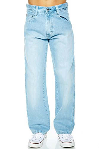 Mens Basic Jean (MEN'S SOUTHPOLE RELAXED FIT BASIC WASHED SANDBLAST JEANS 4180 (34/32, Light Blue))