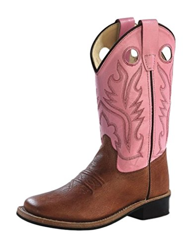 Old West Girls' Cowgirl Boot Square Toe Tan