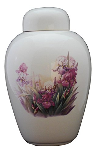 Pink & Purple Iris-flower funeral Urn - Cremation Urn for Human Ashes - Hand Made Pottery Iris Urn