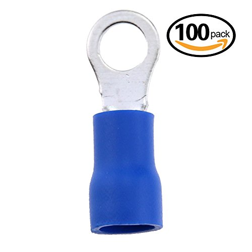 Hilitchi 100Pcs 16-14AWG Insulated Terminals Ring Electrical Wire Crimp Connectors (Blue, M4)