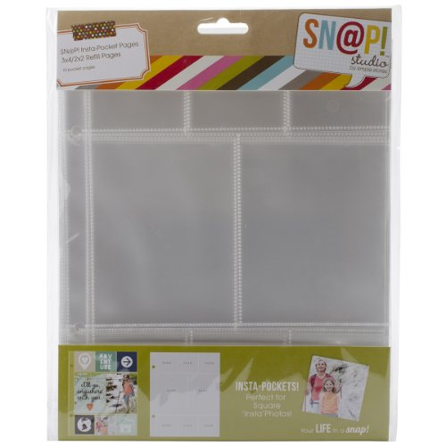 (Simple Stories Snatp! Insta Pocket Pages for 6 by 8-Inch Binders with 2 by 2-Inch and 3 by 4-Inch Pockets, 10-Pack)