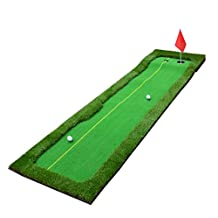 Rocsai Professional Portable Practice Green Long Challenging Putts Indoor / Outdoor Putting Green Sport Rubber Push Rod Putting Green Mat Golf Mat Training Aid Equipment